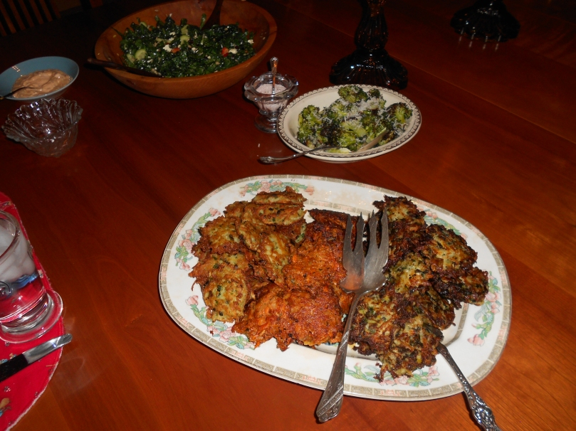 Here's the spread:  3 kinds of latkes, plus some roasted broccoli, and a kale salad!