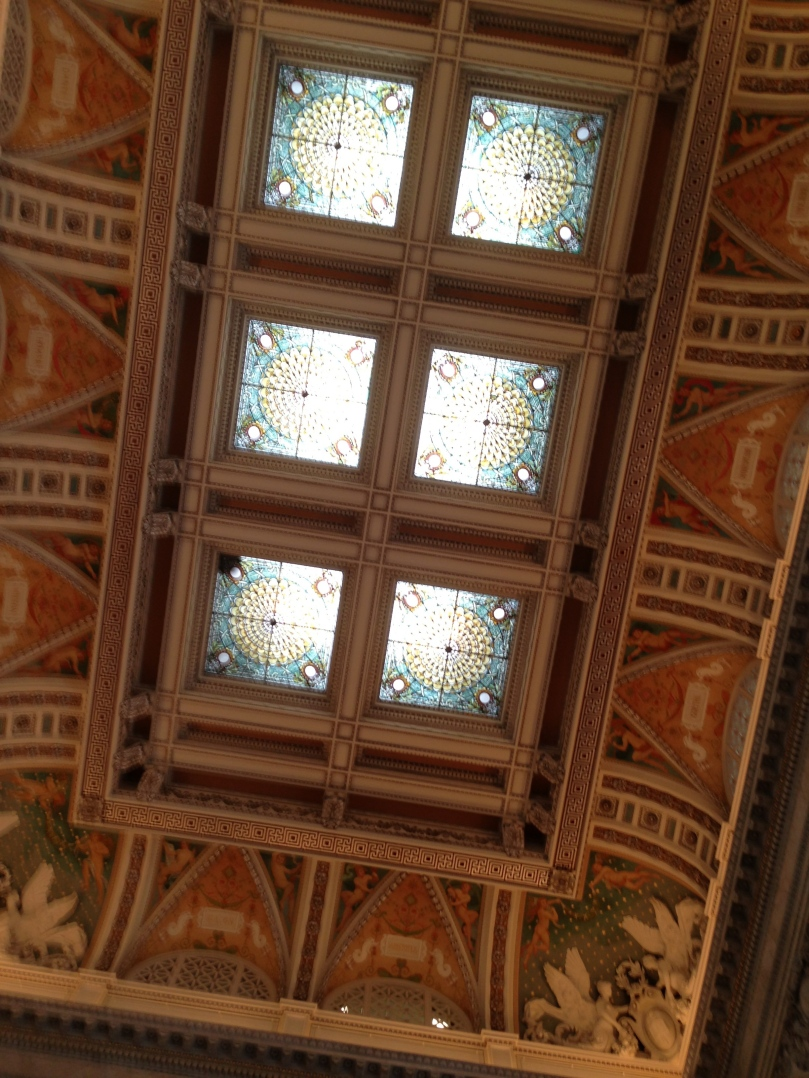 The ceiling of the main foyer of the building