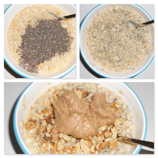Chia seeds on top, mixed in, then some almond butter and walnuts and it's a meal!