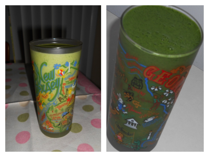 My spinach smoothie without the algae, then with the algae