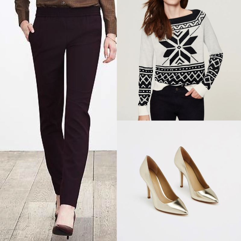e947bb2f5e1c For a whimsical but slightly sleeker look, it would be great to do a  non-ugly holiday sweater with a fashion forward pant. Something like this  sweater from ...