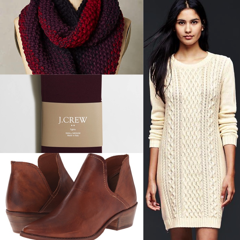 908ba90dd0c1 Outfit number three is a far cozier and casual look, great for a cold day.  A cable sweater dress like this one from the Gap can hide a multitude of  sins (or ...
